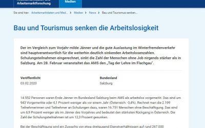 Statistik: Bau und Tourismus senken die Arbeitslosigkeit