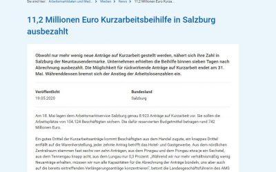 11,2 Millionen Euro Kurzarbeitsbeihilfe in Salzburg ausbezahlt